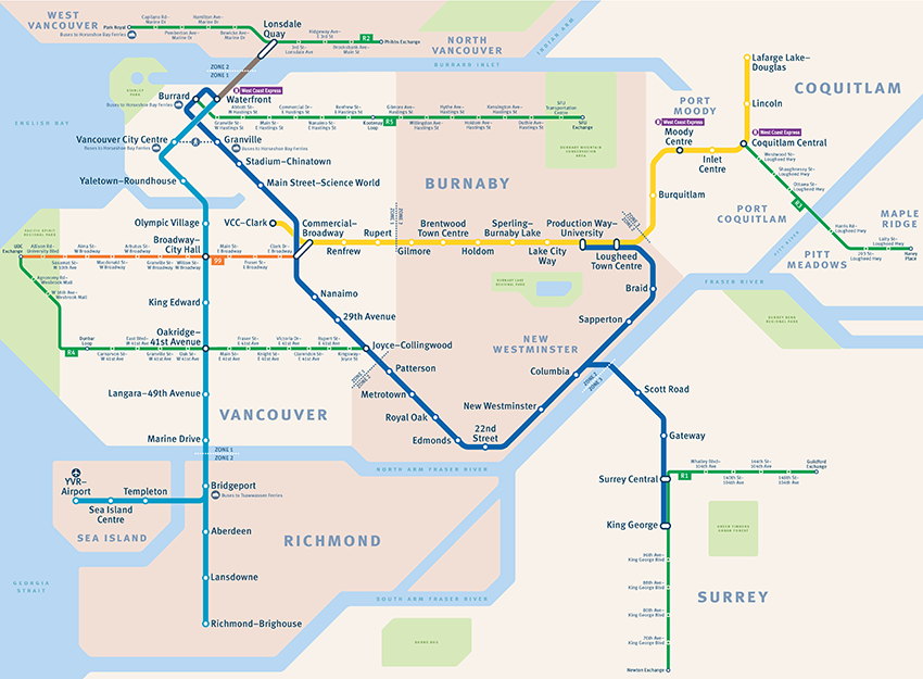 Basic map of frequent transit service in Metro Vancouver