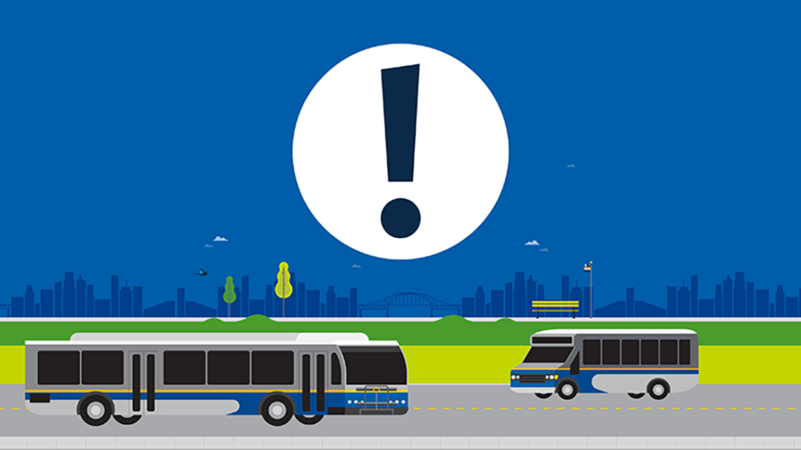 An illustration of two buses driving on a road at night with a big alert icon floating above in the sky