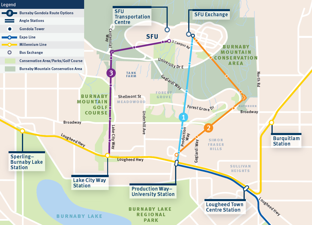 Proposed Routes for the Burnaby Mountain Gondola