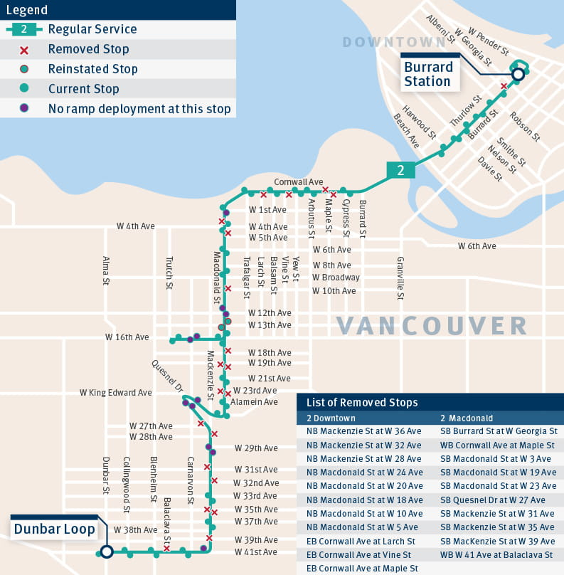 Map displaying the consolidated and removed stops on the 2 Macdonald Downtown
