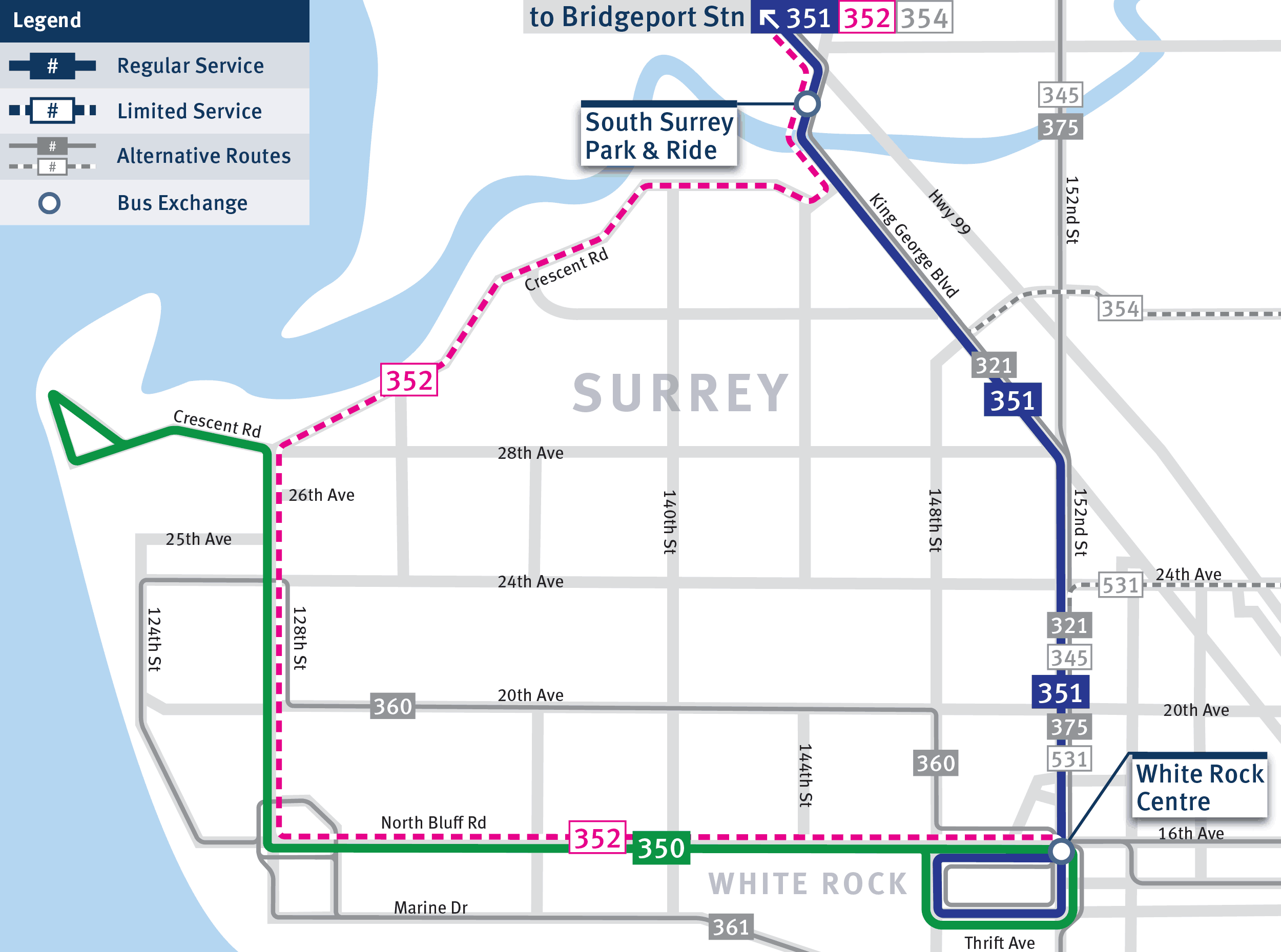 Map of Route 350, 351, and 352