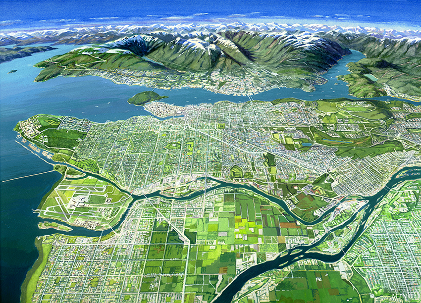 An artistic panorama shot of the Metro Vancouver region.