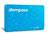 a blue adult compass card