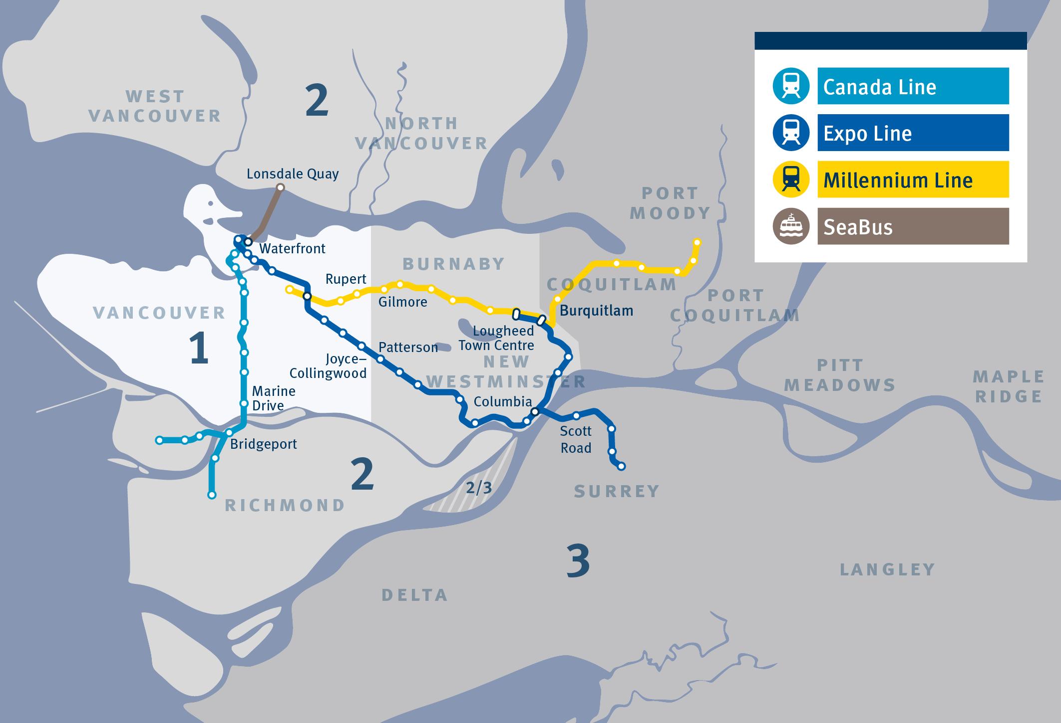 Canada Line Fare Zone Map Pricing and Fare Zones | TransLink